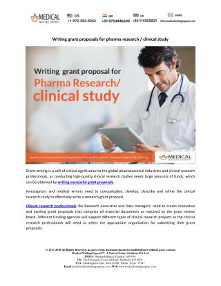Writing grant proposals for pharma research / clinical study