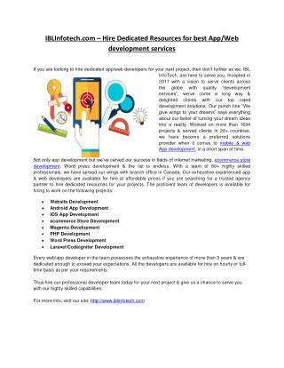 IBLInfotech.com – Hire Developers for intelligent App/Web development