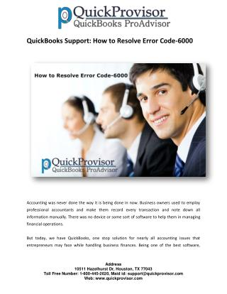 QuickBooks Support: How to Resolve Error Code-6000