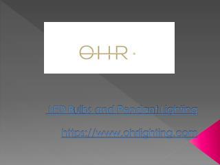 OHR Edison Pendant Light LED Light