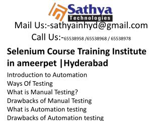 Selenium course training institute ameerpet hyderabad – Best software training institute
