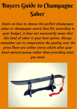Choose Authentic Champagne Swords for Sabering Champagne