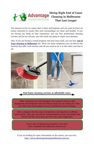 Hiring Right End of Lease Cleaning in Melbourne That Last Longer