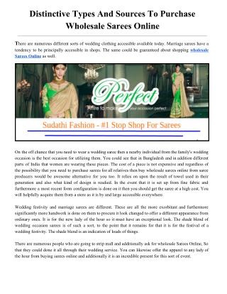 Distinctive Types And Sources To Purchase Wholesale Sarees Online