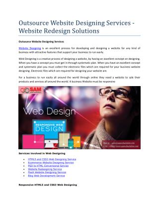 Outsource Website Designing Services - Website Redesign Solutions