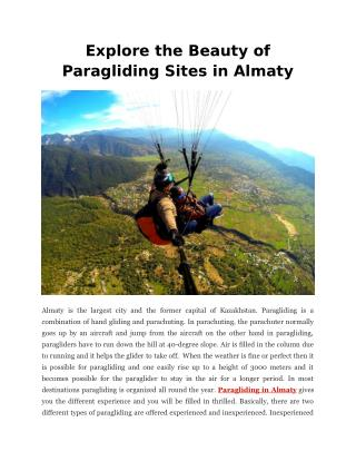 Explore the Beauty of Paragliding Sites in Almaty