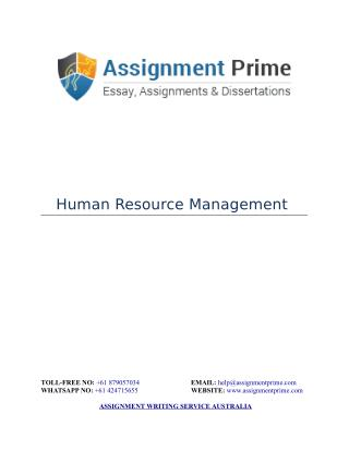 Human Resource Management Assignment Sample - Assignment Prime