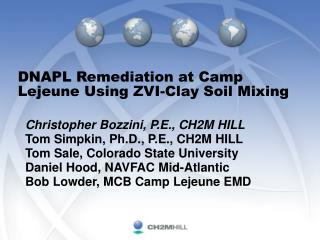 DNAPL Remediation at Camp Lejeune Using ZVI-Clay Soil Mixing