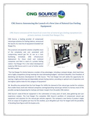 CNG Source Announcing the Launch of a New Line of Natural Gas Fueling Equipment