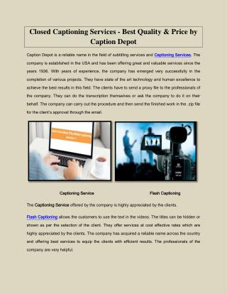 Closed Captioning Services - Best Quality & Price by Caption Depot