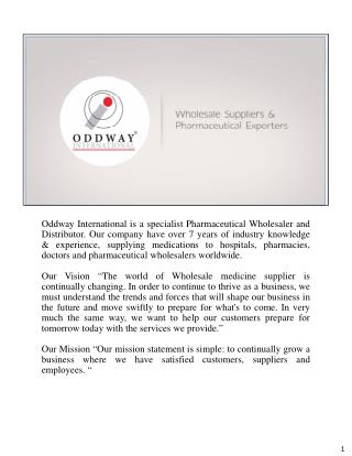Anti Cancer Pharmaceutical Distribution Industry | OddwayInternational