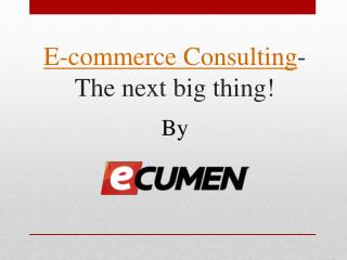 E-commerce Consulting- The next big thing!