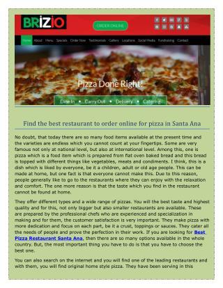 Large cheese Brizio pizza Delivery in Santa Ana