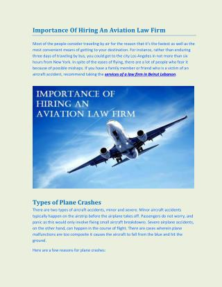 Importance of Hiring an Aviation Law Firm
