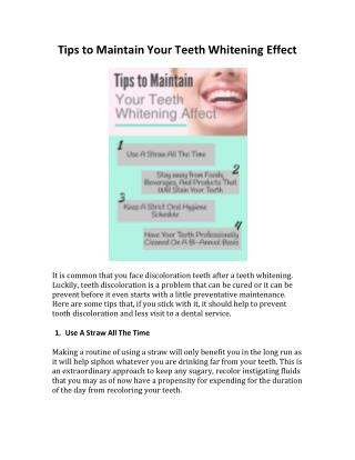 Tips to Maintain Your Teeth Whitening Effect