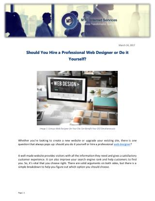 Should You Hire a Professional Web Designer or Do it Yourself?