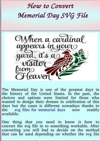 How to Convert Memorial Day SVG File
