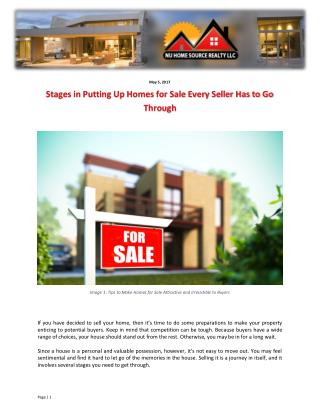 Stages in Putting Up Homes for Sale Every Seller Has to Go Through