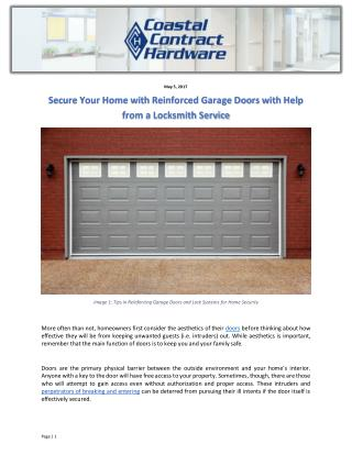 Secure Your Home with Reinforced Garage Doors with Help from a Locksmith Service