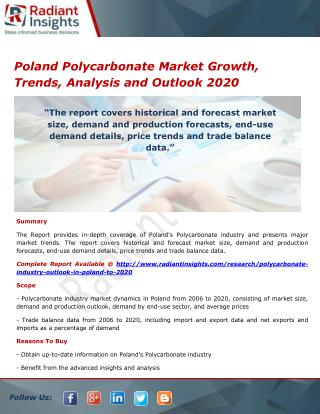 Poland Polycarbonate Market Share, Opportunities and Outlook 2020