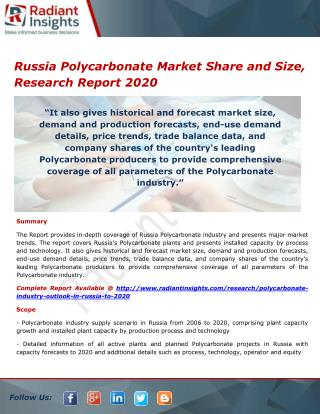 Russia Polycarbonate Market Share, Trends and Forecasts 2020