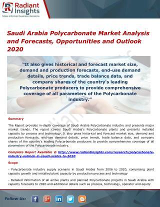 Saudi Arabia Polycarbonate Market Size, Analysis and Forecasts 2020