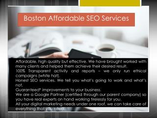 Boston Affordable SEO Services
