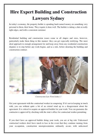 Hire Expert Building and Construction Lawyers Sydney