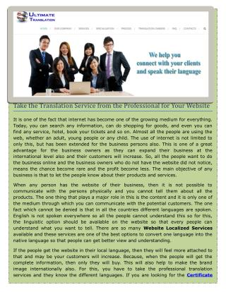 Take the Translation Service from the Professional for Your Website