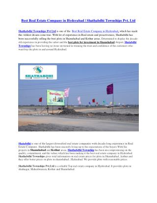 Best Real Estate Company in Hyderabad, Shathabdhi Townships