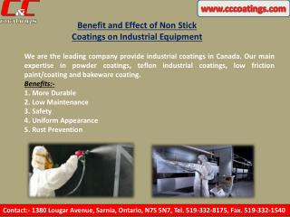 Benefit and Effect of Non Stick Coatings on Industrial Equipment