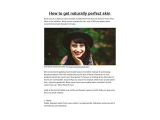 How to get naturally perfect skin