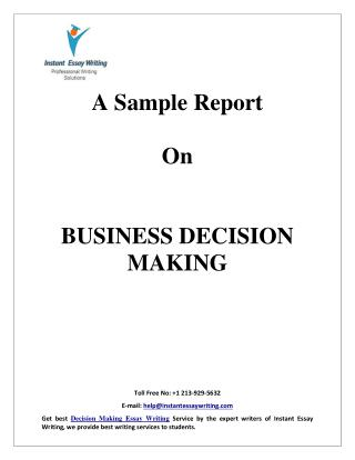 Sample Report on Business Decision Making By Instant Essay Writing