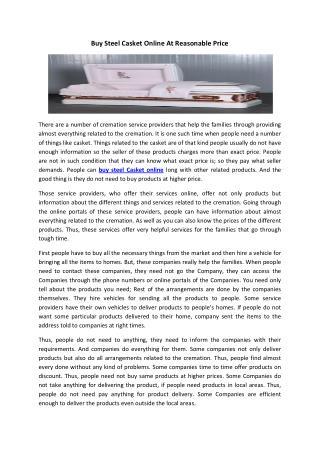 Buy Steel Casket Online At Reasonable Price
