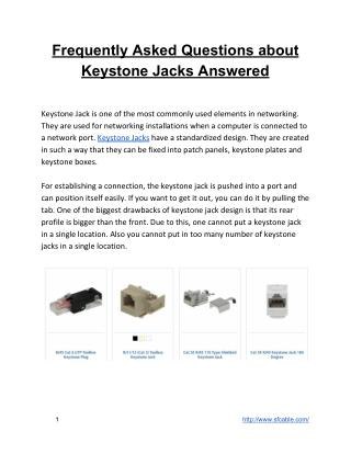Frequently Asked Questions about Keystone Jack Answered