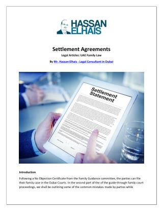 UAE Family Law: Settlement Agreements