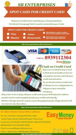 Spot Cash On Credit Card In Chennai - 8939112304