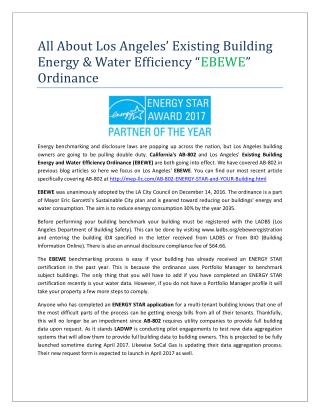 "All About Los Angeles' Existing Building Energy & Water Efficiency ""EBEWE"" Ordinance"