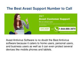 The Best Avast Support Number To Call (1-844-888-3870)