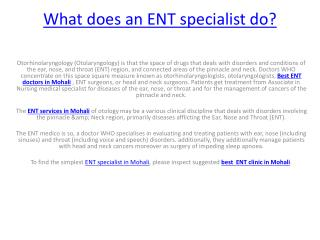 What does an ENT specialist do?