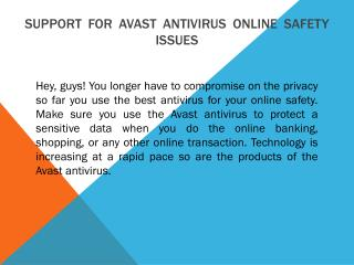 Support for Avast antivirus online Safety Issues