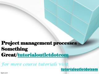 Project management processes Something Great/tutorialoutletdotcom