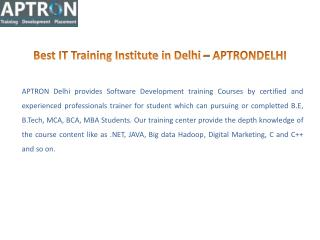 CCNA .NET, JAVA Training Institute in Delhi – APTRON