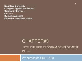 Chapter3  Structured Program Development in C