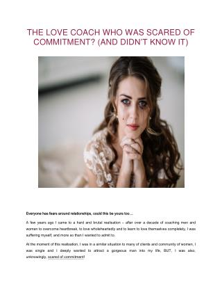 The Love Coach who was scared of commitment? Healthy You Healthy Love