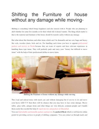 Free tips for Furniture Shifting by Packers5th.in