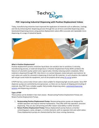 Improving Industrial Dispensing with Positive Displacement Valves