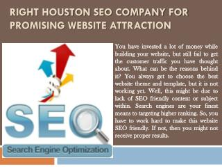 Right Houston SEO Company for Promising Website Attraction