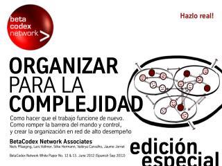 Organizar para la Complejidad, parte I II. Como hacer que el trabajo funcione de nuevo. Special Edition Paper
