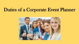Duties of a Corporate Event Planner